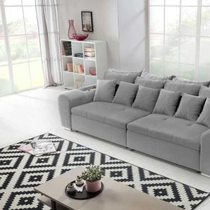 Big Sofa in einem grau melierten feinem Webstoff Stoff bezogen, Steppung praktische Abstellfläche, Schaumpolsterung, Maße: B/H/T ca. 310/81/125 cm
