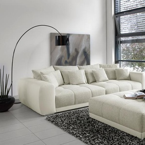 Big Sofa in weiß/grau/beige mit Steppungen im Sitzelement, 4 große Rückenkissen, 4 mittlere und 4 kleine Zierkissen, Maße: B/H/T ca. 306/83/134 cm