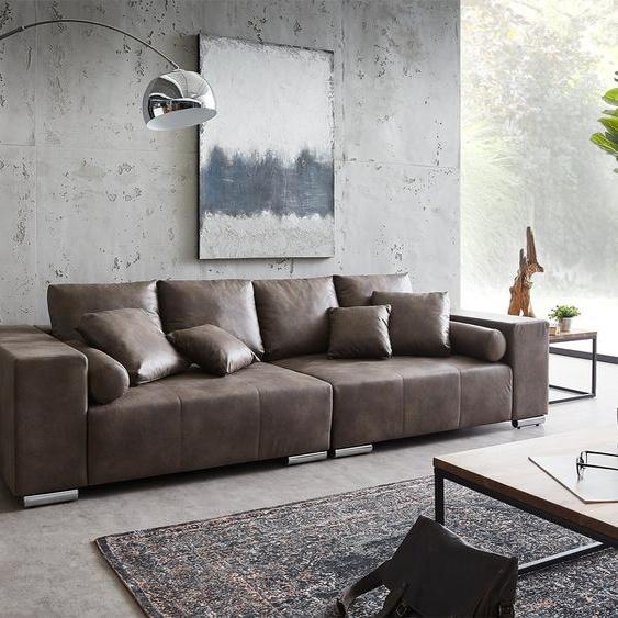 Big-Sofa Marbeya 285x115 cm Dunkelbraun mit 10 Kissen XXL-Sofa, Big Sofas