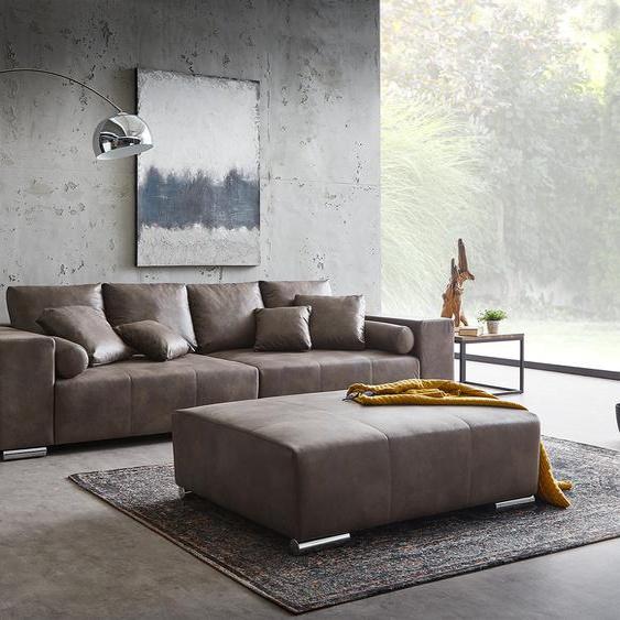 Big-Sofa Marbeya 285x115 cm Dunkelbraun mit Hocker XXL-Sofa, Big Sofas