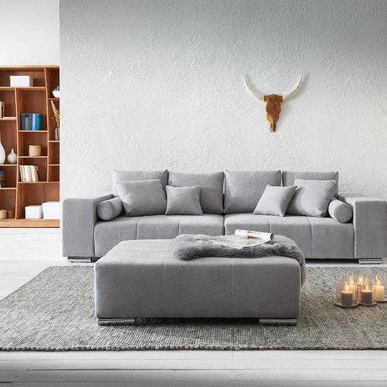 Big-Sofa Marbeya 285x115 cm Grau mit Hocker XXL-Sofa, Big Sofas