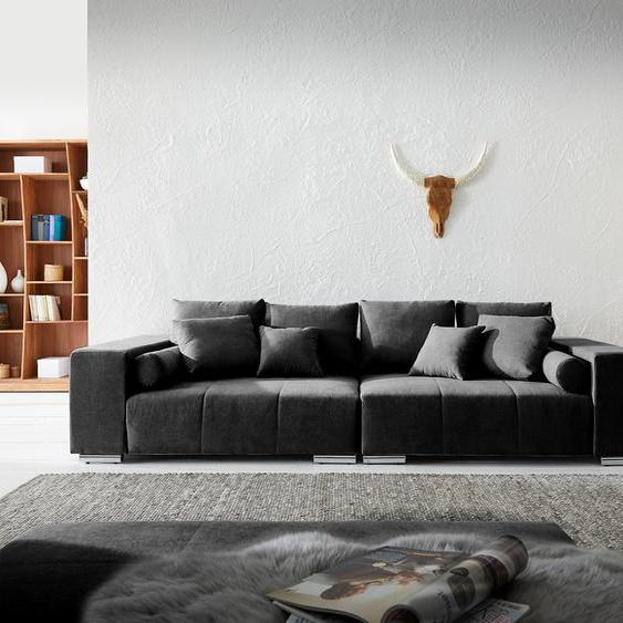 Big-Sofa Marbeya 285x115 cm Schwarz mit 10 Kissen XXL-Sofa, Big Sofas