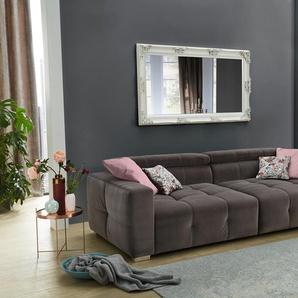 Big Sofa mit samtähnlichem grauen Bezug, inkl verstellbaren Kopfstützen, 4 Kissen und Heftung auf Sitz und Armlehnen, Maße: B/H/T ca. 289/95/123 cm