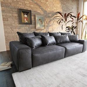 Big-Sofa Sirpio XL 270x125 cm Anthrazit Vintage Kedernaht, Big Sofas