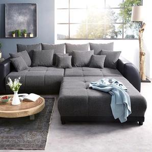 Big-Sofa Violetta 310x135 cm Schwarz mit Hocker, Big Sofas