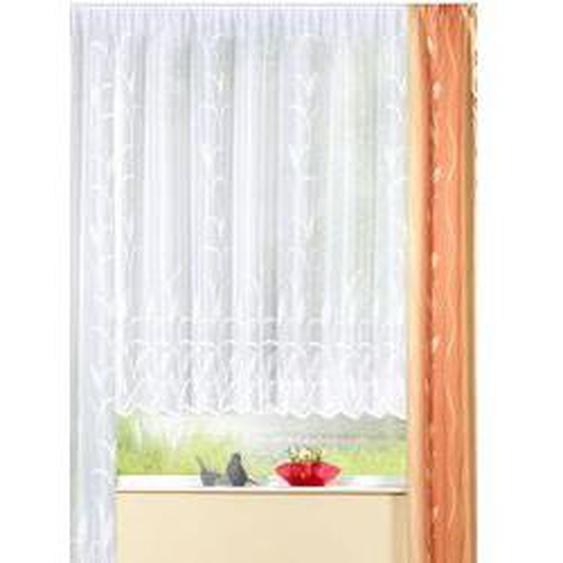 Blumenfenster-Store mit naturnahem Blätterdessin, Größe 140 (H120xB300 cm), Weiss