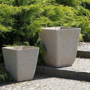 Blumenkübel beige quadratisch 49 x 49 x 53 cm DELOS