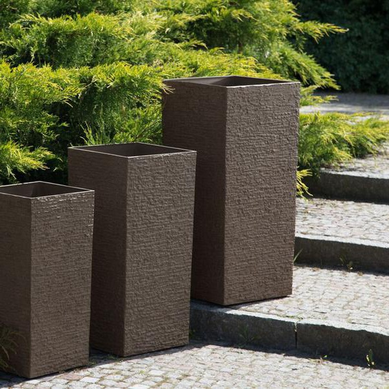 Blumenkübel dunkelbraun quadratisch 40 x 40 x 81 cm GAZA