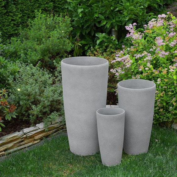 Blumenkübel grau rund 23 x 23 x 42 cm ABDERA