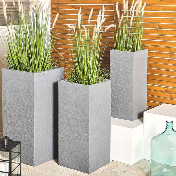 Blumentopf grau quadratisch 26 x 26 x 60 cm DION