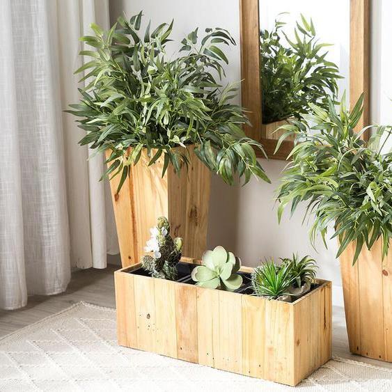 Blumentopf heller Holzfarbton rechteckig 66 x 24 x 24 cm TRIKALA