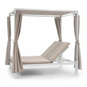 Blumfeldt Eremitage Double Sunbed 2 Pers Stahl-Rahmen Sonnendach Vorhänge creme