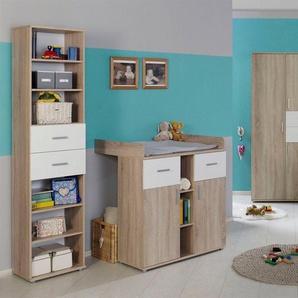 BMG Babyzimmer-Komplettset »Maxim«, (Set, 4-St), Bett + Wickelkommode + 3-trg. Schrank + Standregal