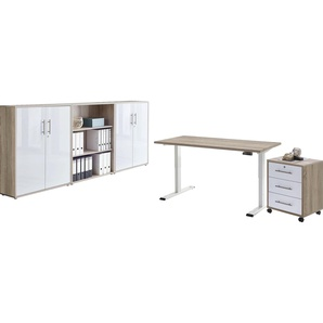 BMG Büromöbel-Set Tabor, (Set, 5 St.), mit elektrisch höhenverstellbarem Schreibtisch Einheitsgröße beige Büromöbel-Sets Arbeitszimmer