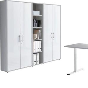 BMG Büromöbel-Set Tabor, (Set, 5 St.), mit elektrisch höhenverstellbarem Schreibtisch Einheitsgröße grau Büromöbel-Sets Arbeitszimmer