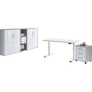 BMG Büromöbel-Set Tabor, (Set, 5 St.), mit elektrisch höhenverstellbarem Schreibtisch Einheitsgröße grau Büromöbel-Sets Büromöbel