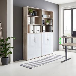 BMG Büromöbel-Set Tabor, (Set, 6 St.), mit elektrisch höhenverstellbarem Schreibtisch Einheitsgröße beige Büromöbel-Sets Arbeitszimmer