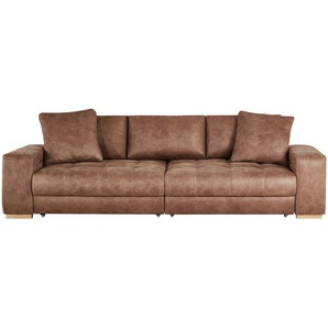 bobb Big Sofa cognac - Microfaser Caro ¦ braun ¦ Maße (cm): B: 302 H: 68 T: 136