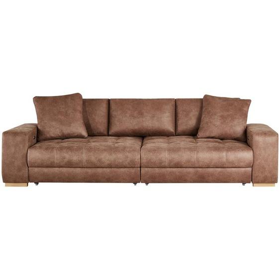 bobb Big Sofa cognac - Microfaser Caro ¦ braun