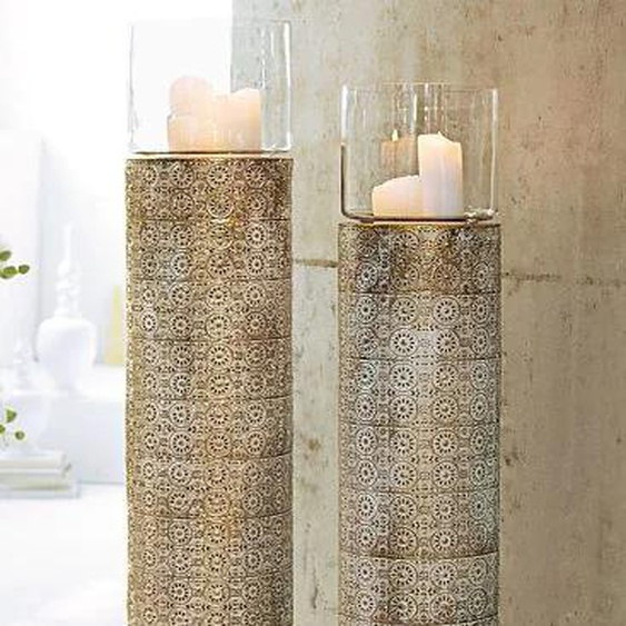 Bodenwindlicht H: 103 cm weiß Kerzenhalter Kerzen Laternen Wohnaccessoires