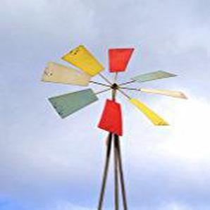 Wunderschönes mediterranes Windrad auf dekorativem, stabilem Pyramidenständer Größe ca 150 cm in antikem Design und dezenter Farbgestaltung