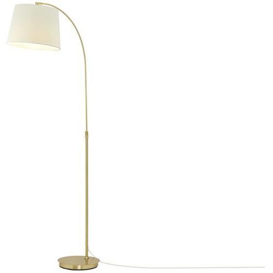 Bogenleuchte, 1-flammig Stoffschirm weiß - gold | Möbel Kraft