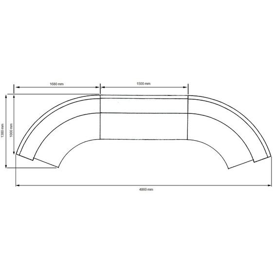 Bogentheke Edelstahl / Anthrazit / 486x110x138 cm