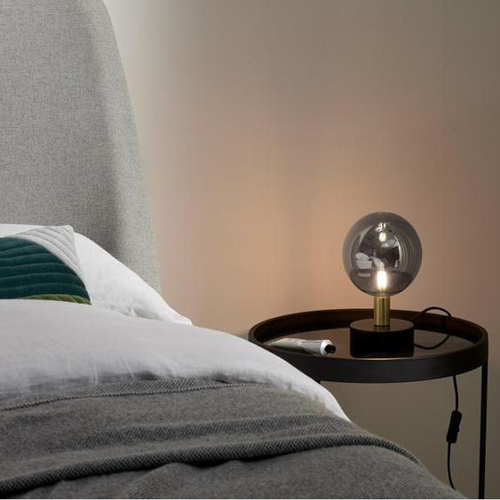 Boll Tischlampe, Marmor in Schwarz, Messing und Rauchglas