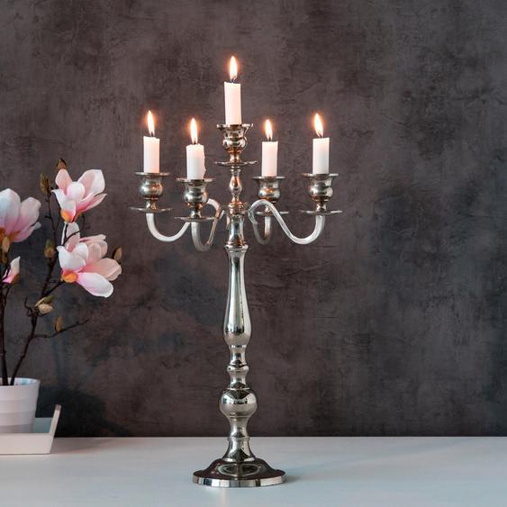 BOLTZE Kerzenleuchter Varas 21x27x35 cm silberfarben Kerzenhalter Kerzen Laternen Wohnaccessoires