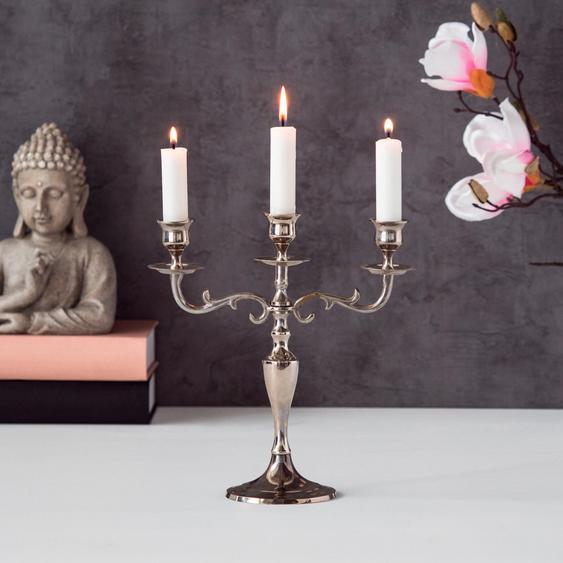 BOLTZE Kerzenleuchter Varas 23x26 cm silberfarben Kerzenhalter Kerzen Laternen Wohnaccessoires