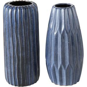BOLTZE Tischvase Aquarel, aus Porzellan, Höhe ca. 23 cm + 24 H: cm-24 Ø 11,5 cm-10,5 blau Blumenvasen Pflanzgefäße Wohnaccessoires