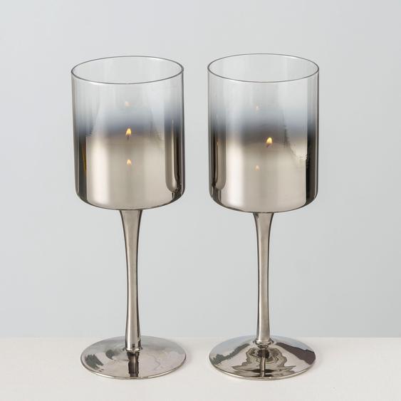 BOLTZE Windlicht Grazia H: 25 cm silberfarben Kerzenhalter Kerzen Laternen Wohnaccessoires