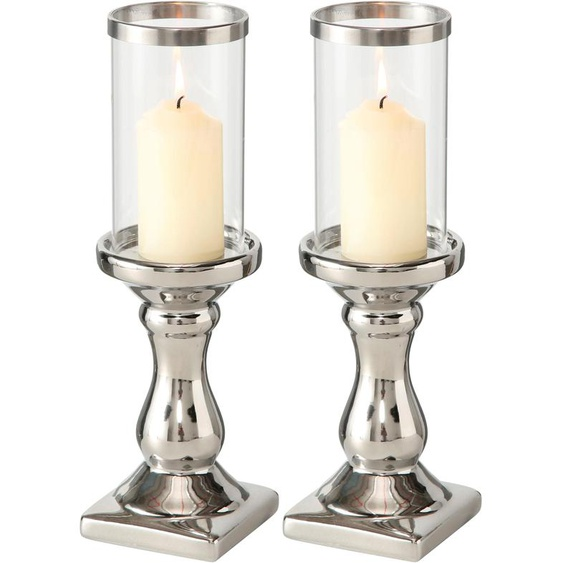 BOLTZE Windlicht Maseru H: 31 cm silberfarben Kerzenhalter Kerzen Laternen Wohnaccessoires