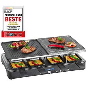 Bomann RG 2279 CB Raclette-Grill mit heißem Stein zum Grillen und Überbacken, Wendegussplatte, 8 Pfännchen, 8 Holzspatel, antihaftbeschichtet