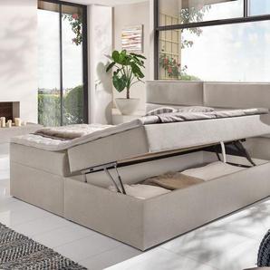 Stoff-Boxbett 180x200 cm beige komplett mit Matratze - Belcastro