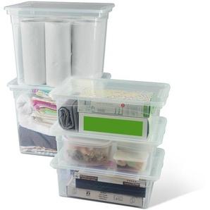 Boxen-Set mit Deckel transparent 3 x 10 l