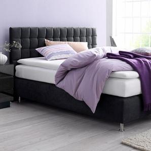 Boxspringbett, schwarz, 90x200 cm, Microvelours, H2, , , Härtegrad 2, Westfalia Schlafkomfort