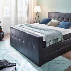 Boxspringbett, schwarz, 180x200 cm, Kunstleder, H2, , , Härtegrad 2, meise.möbel