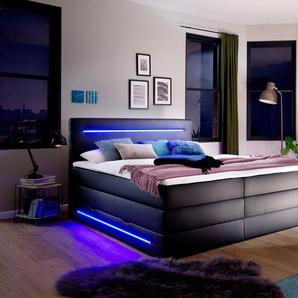 Boxspringbett mit LED Beleuchtung, schwarz, 180x200cm, Härtegrad 3, meise.möbel