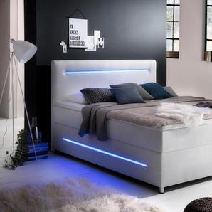 Boxspringbett, weiß, 180x200 cm, Kunstleder, H3, , , Härtegrad 3, meise.möbel