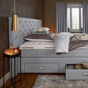 Boxspringbett »Aivi«, grau, 100x200 cm, H2, , , Härtegrad 2, Guido Maria Kretschmer Home&Living
