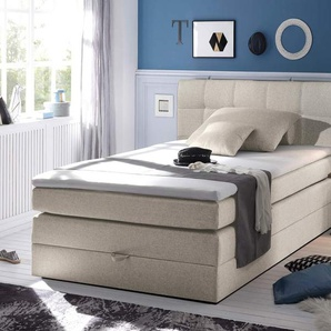 Boxspringbett in beigefarbenem Feinstrukturstoff mit Bettkasten Bonell-Federkernpolsterung und Matratze, Schaum-Topper, Liegefläche: 140 x 200 cm