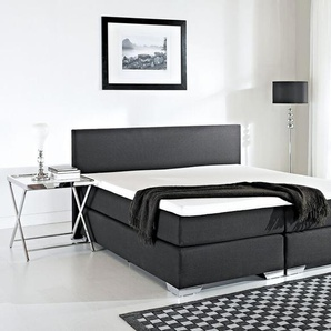 Boxspringbett Polsterbezug schwarz 180 x 200 cm PRESIDENT