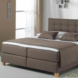Home affaire Boxspringbett »Tommy«, braun, 100x200 cm, Struktur, H2, , , Härtegrad 2