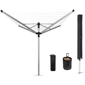 Brabantia 100222 Lift-O-Matic 50 M Wäschespinne - 50 mm Rohr mit Kunststoff-Bodenhülse, Hülle und Wäscheklammerbeutel