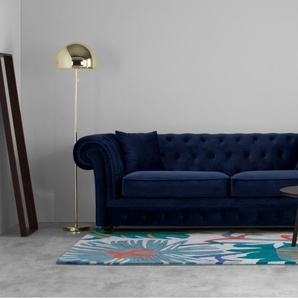 Branagh 3 Sitzer Sofa, Samt In Cyanblau