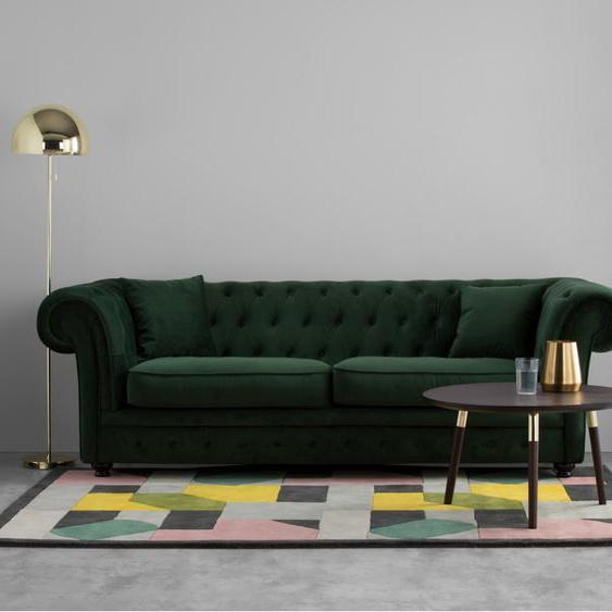 Branagh 3-Sitzer Sofa, Samt in Tannengruen