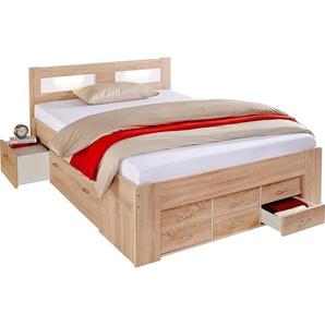 Breckle Bett, Schubkästen im Fußteil, beige, 140/200 cm, mit geräumigen Schubkästen