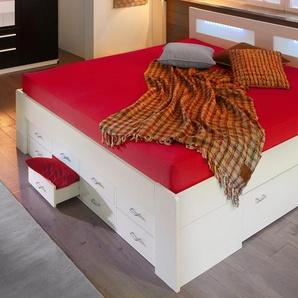 Breckle Bett, Schubkästen im Fußteil, weiß, 140/200 cm, mit geräumigen Schubkästen