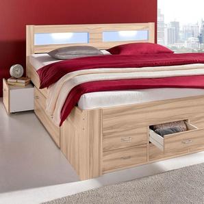Breckle Bett, Schubkästen im Fußteil, beige, 180/200 cm, mit geräumigen Schubkästen